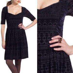 Anthro Meadow Rue Geometric Tonal Velvet Pr Dress